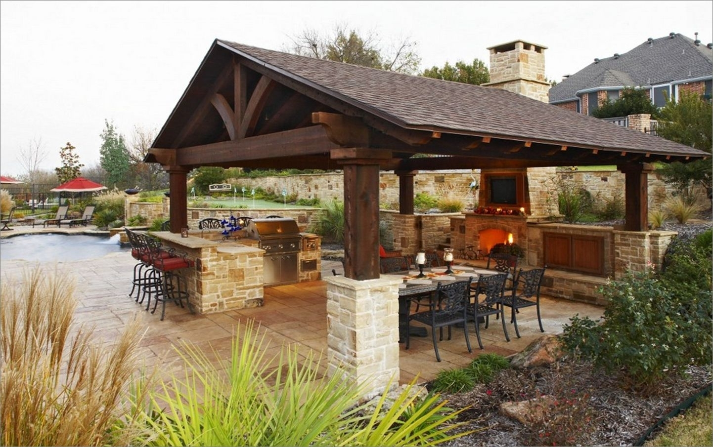 Image of: Outdoor Kitchen Designs Metal Chrome Pendant Lamp White Bar Stool Throughout Outdoor Kitchen Wood Countertops Nice Outdoor Kitchen Wood Countertops Inspiration