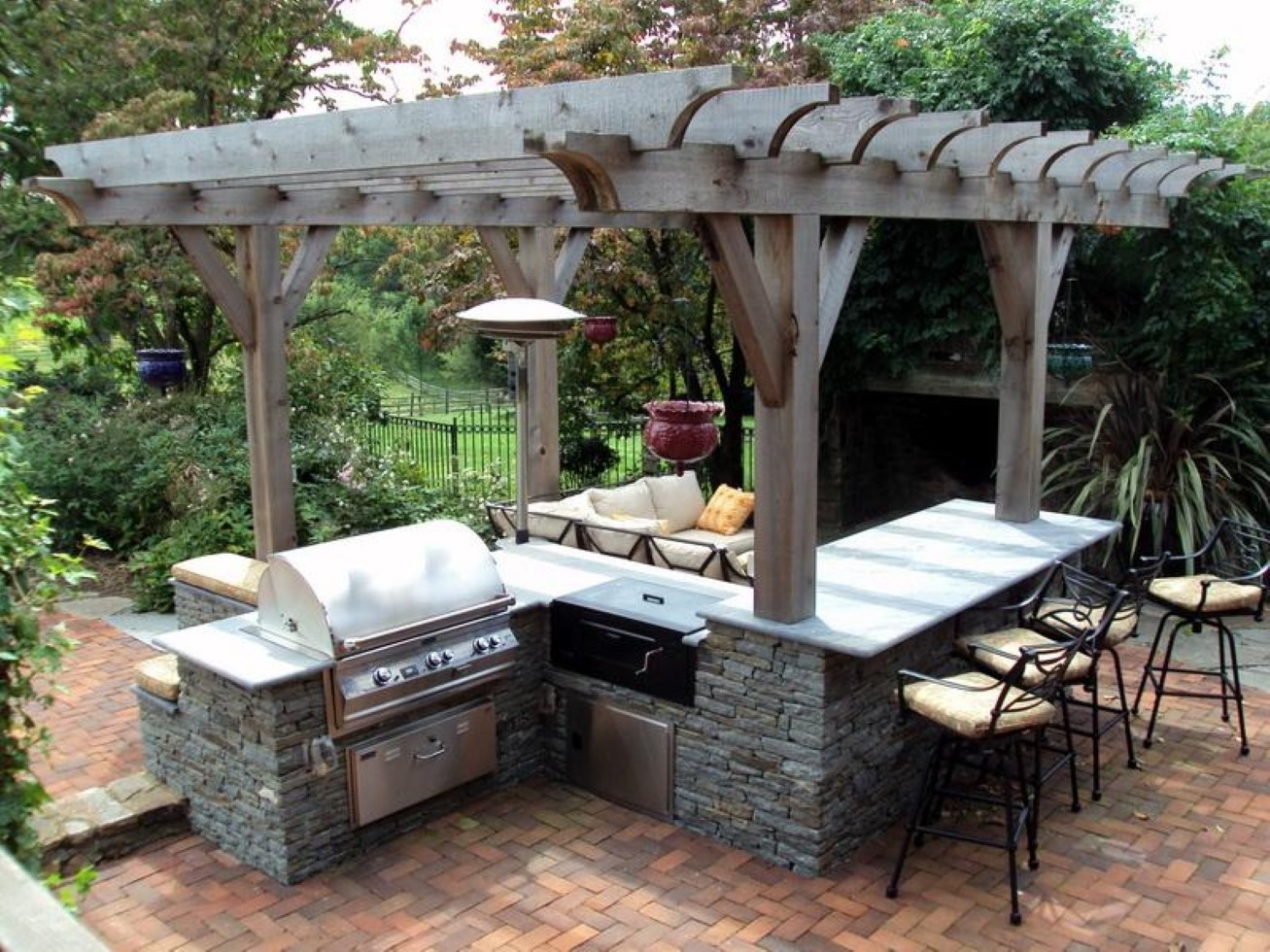 Image of: Outdoor Kitchen Layout How To Welcome The Christmas Better In Outdoor Kitchen Wood Countertops Nice Outdoor Kitchen Wood Countertops Inspiration