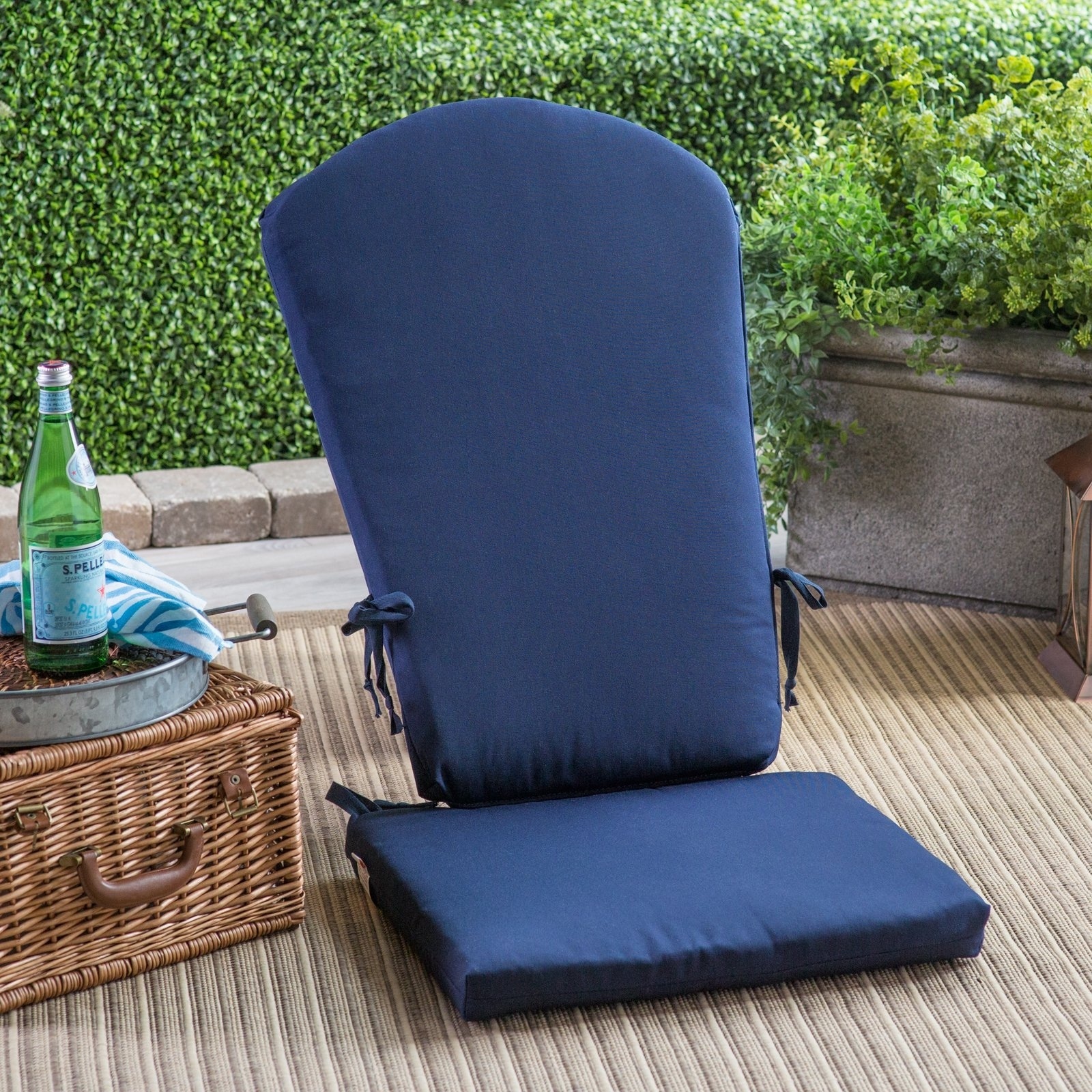Image of: Polywood Sunbrella 17 X 20 In South Beach Chair Seat Cushion Regarding Navy Outdoor Cushions Perfect Navy Outdoor Cushions