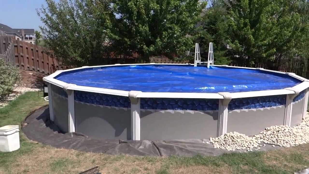 Image of: Pool Installation Detailing Around With River Rock Youtube Regarding Above Ground Pool Landscaping Ideas Above Ground Pool Landscaping