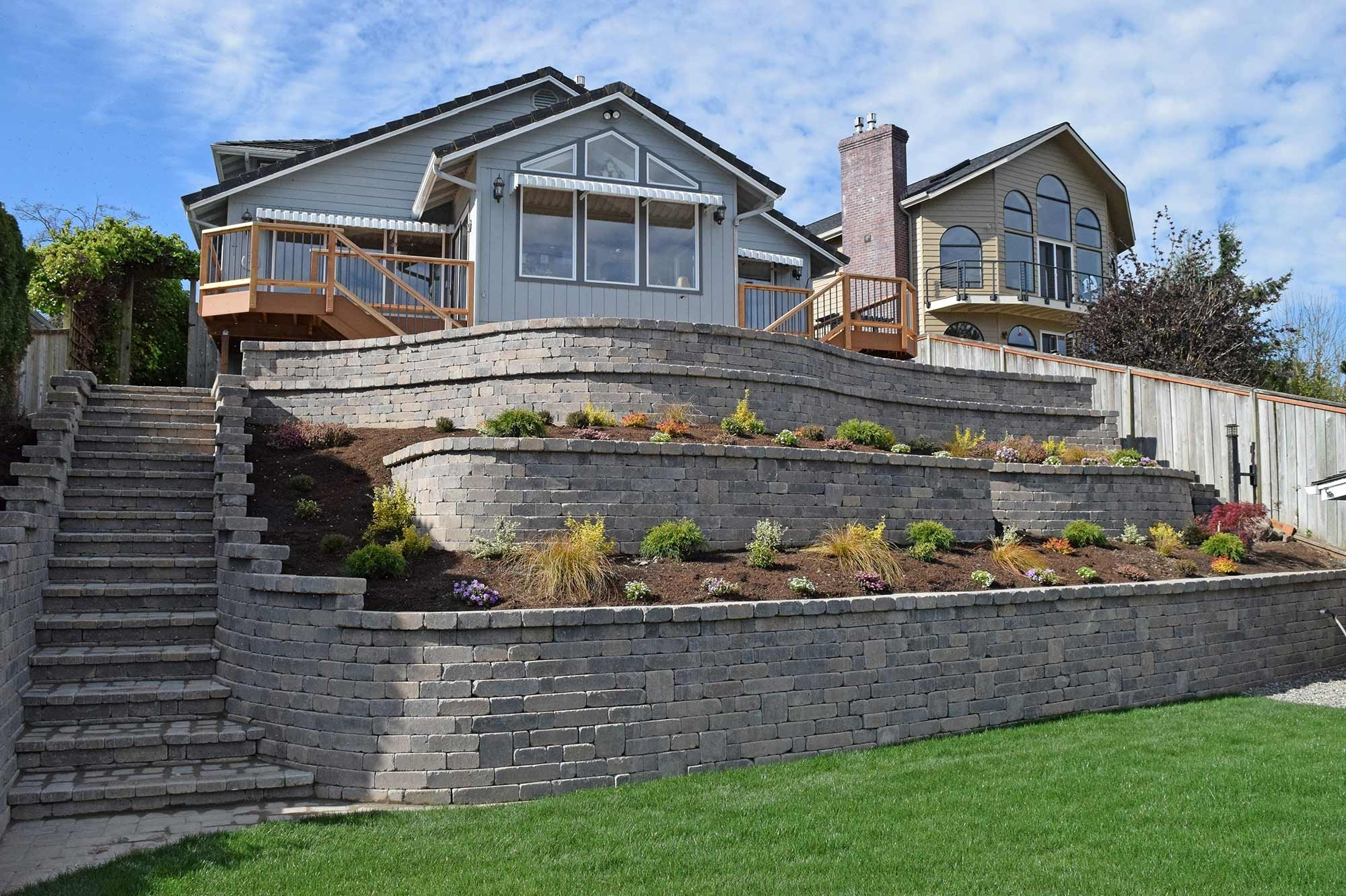 Image of: Retaining Wall Ajb Landscaping Fence Inside Retaining Wall Landscaping Ideas For Retaining Wall Landscaping