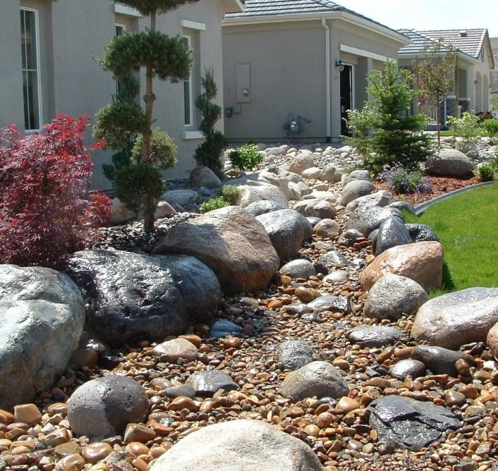 Rock Dry River Bed Landscape Boisholz Regarding Dry Riverbed Landscape Create Dry Riverbed Landscape Ideas