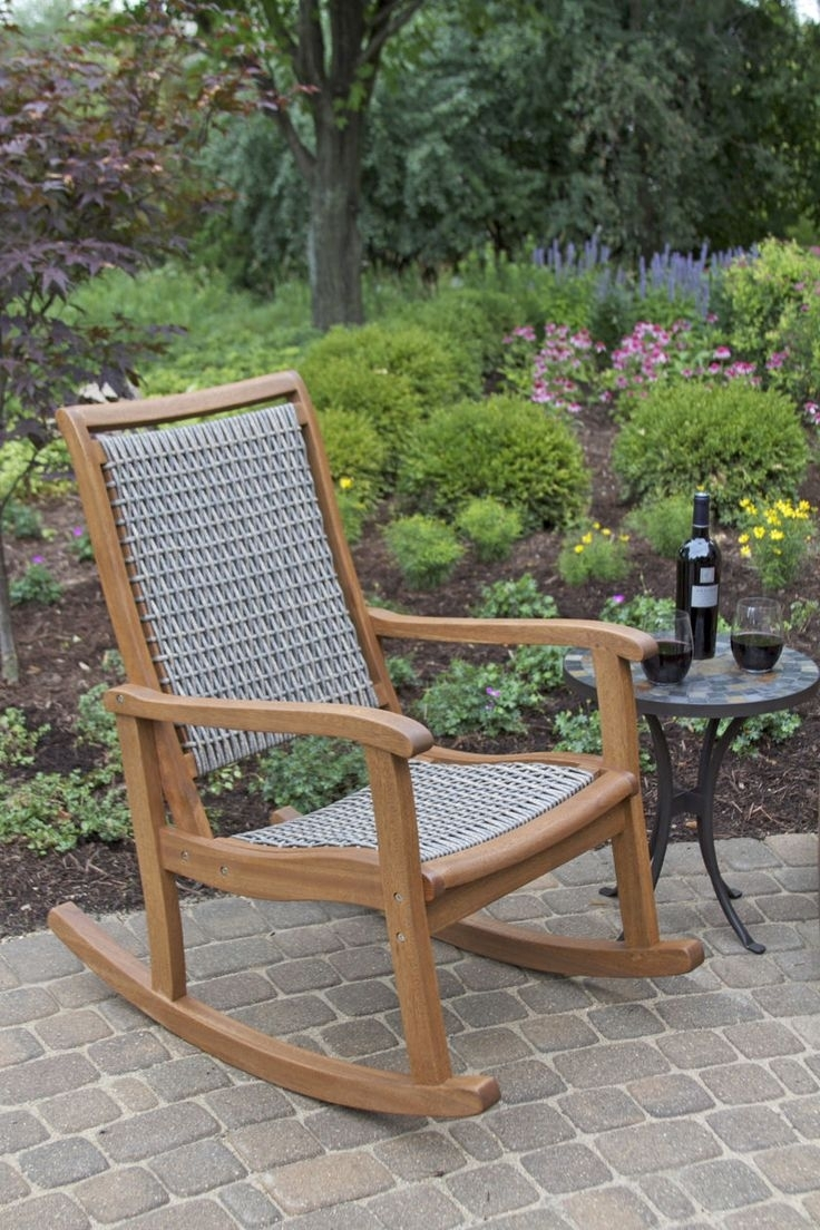 Image of: Rocking Chairs Lowes Chaise Lounge Garden Treasures Patio Within Outdoor Rocking Chairs With Cushions Good Outdoor Rocking Chairs With Cushions