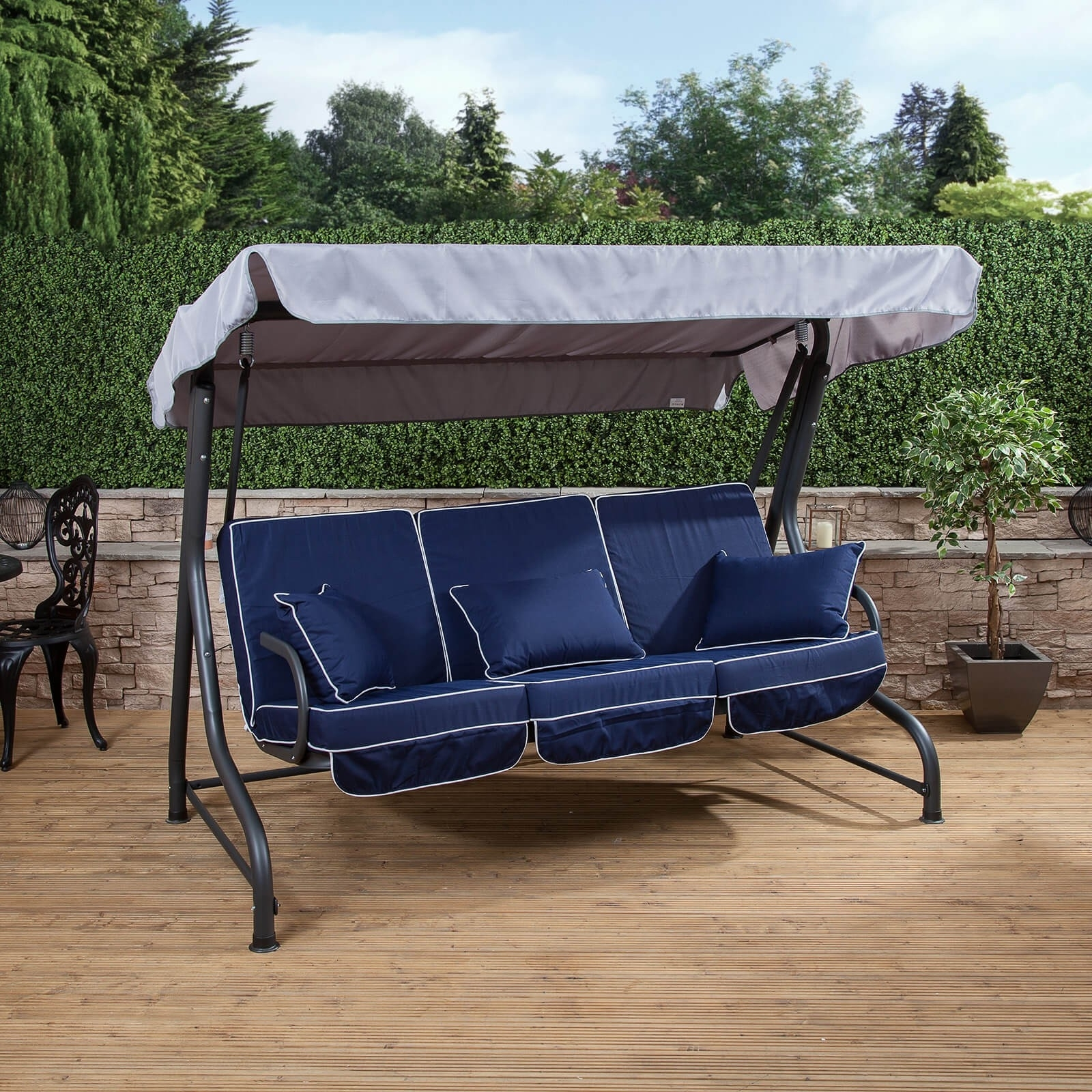Image of: Roma 3 Seater Swing Seat Charcoal Frame With Luxury Cushions For Navy Outdoor Cushions Perfect Navy Outdoor Cushions