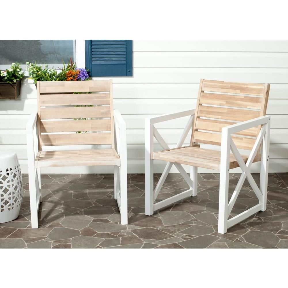 Image of: Safavieh Irina Whiteoak Acacia Wood Patio Armchair 2 Pack For White Oak Outdoor Furniture Good Protector For White Oak Outdoor Furniture