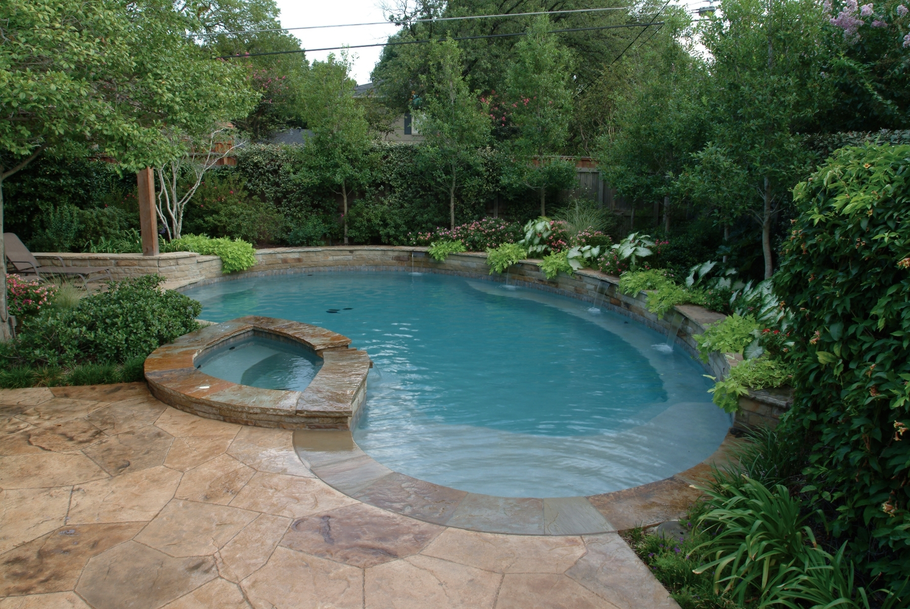 Image of: Small Pool With Waterfall Designs Free Form Pool With Lush For Inground Pool Landscaping Inground Pool Landscaping Ideas
