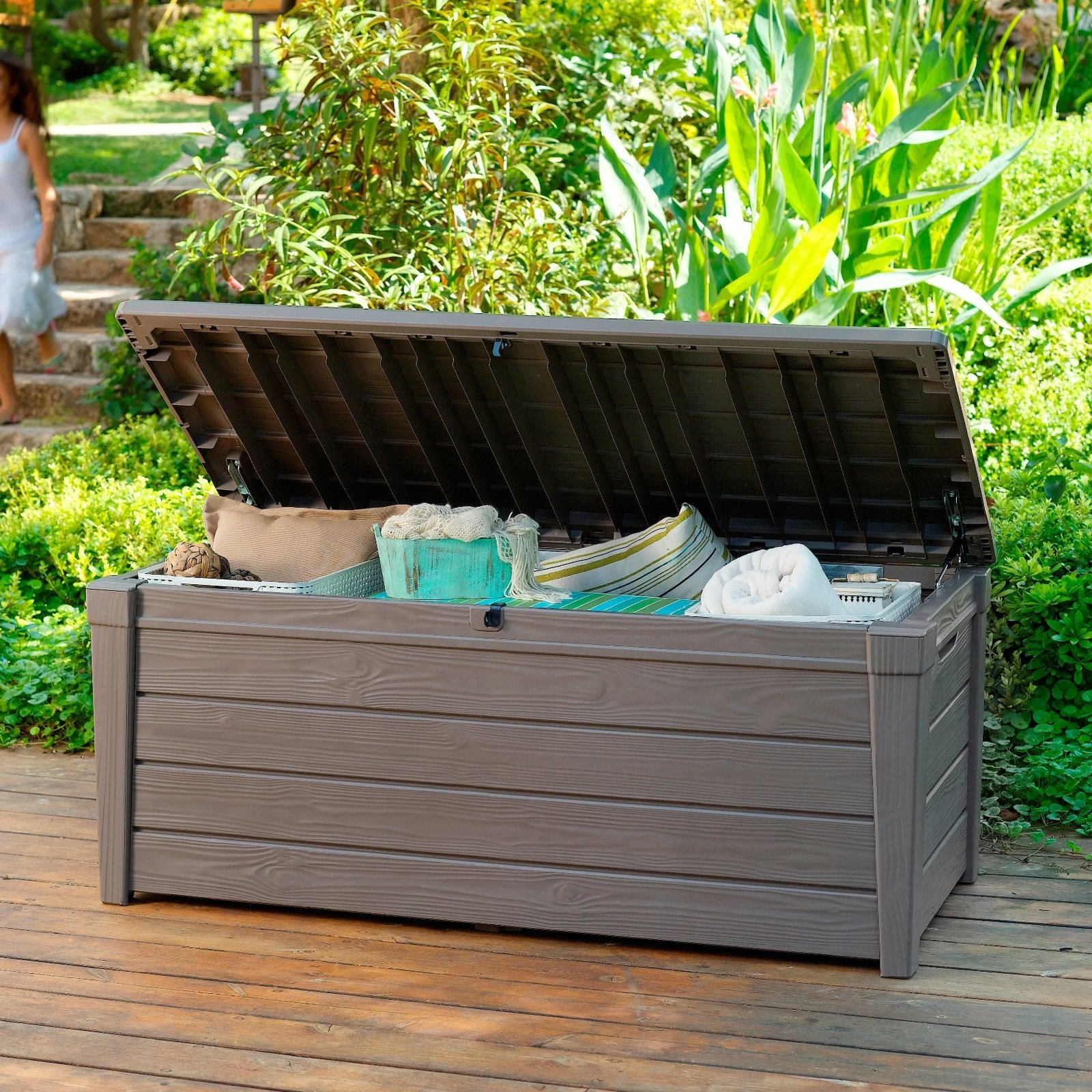 Image of: Storage Easy To Move Grey Deck Storage Box With Handles And Regarding Waterproof Outdoor Cushion Storage Bo Waterproof Outdoor Cushion Storage Box Idea