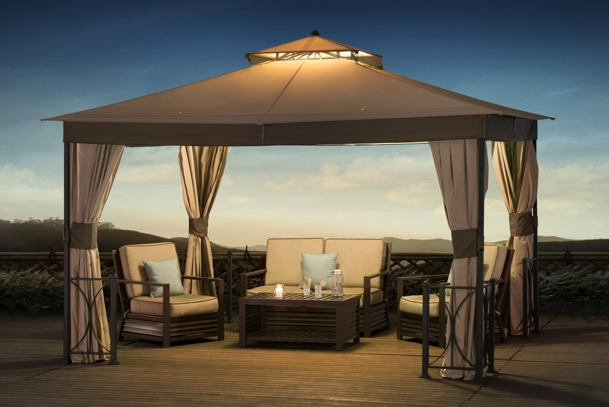 Image of: Sunjoy Belcourt 12 Ft W X 10 Ft D Metal Permanent Gazebo Regarding Outdoor Lighting Fixtures For Gazebos Outdoor Lighting Fixtures For Gazebos