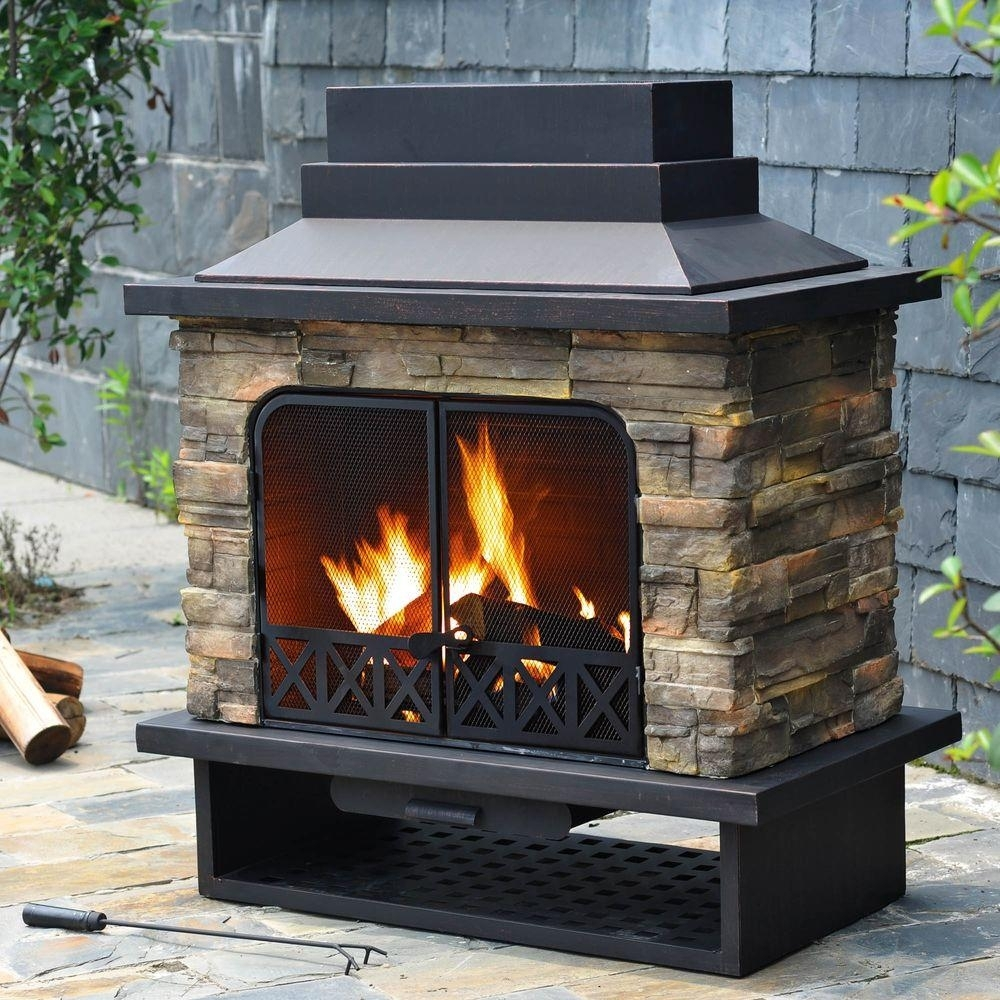 Image of: Sunjoy Huntsville 42 In X 24 In Steel Faux Stone Outdoor Within Fake Outdoor Fireplace Build Fake Outdoor Fireplace