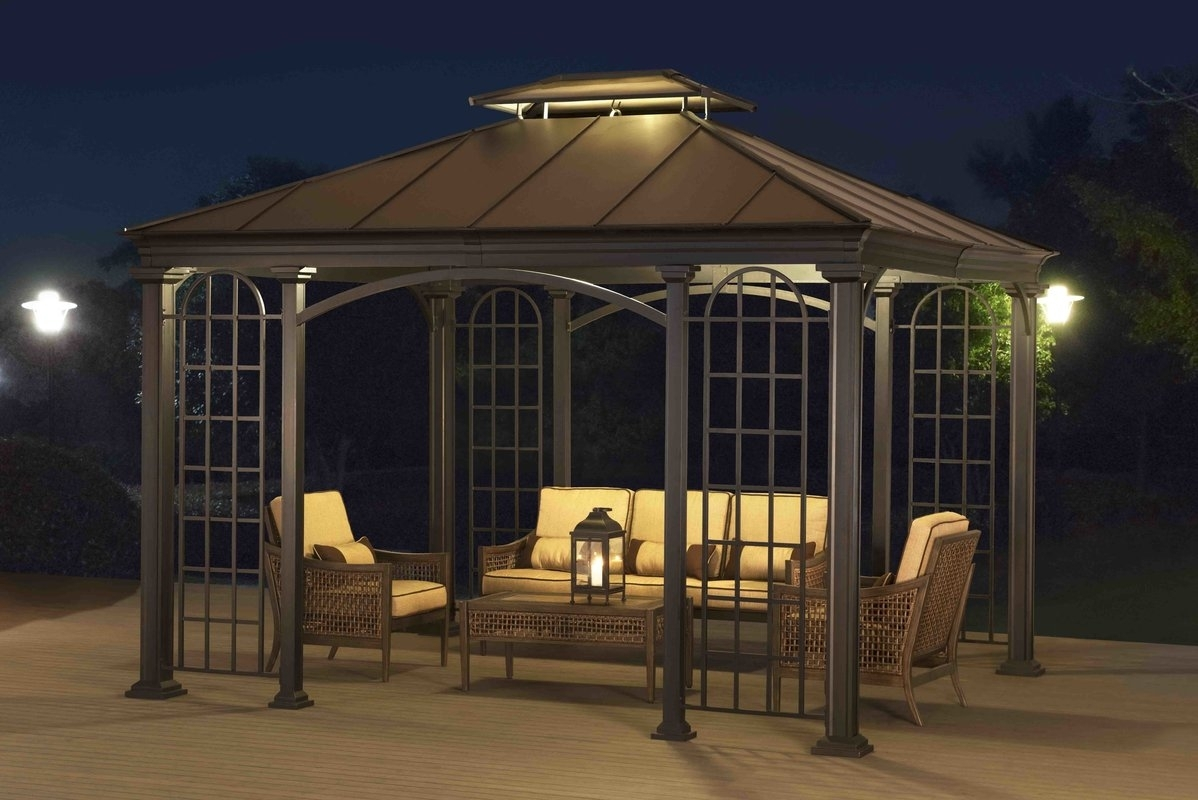 Image of: Sunjoy Summerville 12 Ft W X 10 Ft D Metal Permanent Gazebo For Outdoor Lighting Fixtures For Gazebos Outdoor Lighting Fixtures For Gazebos