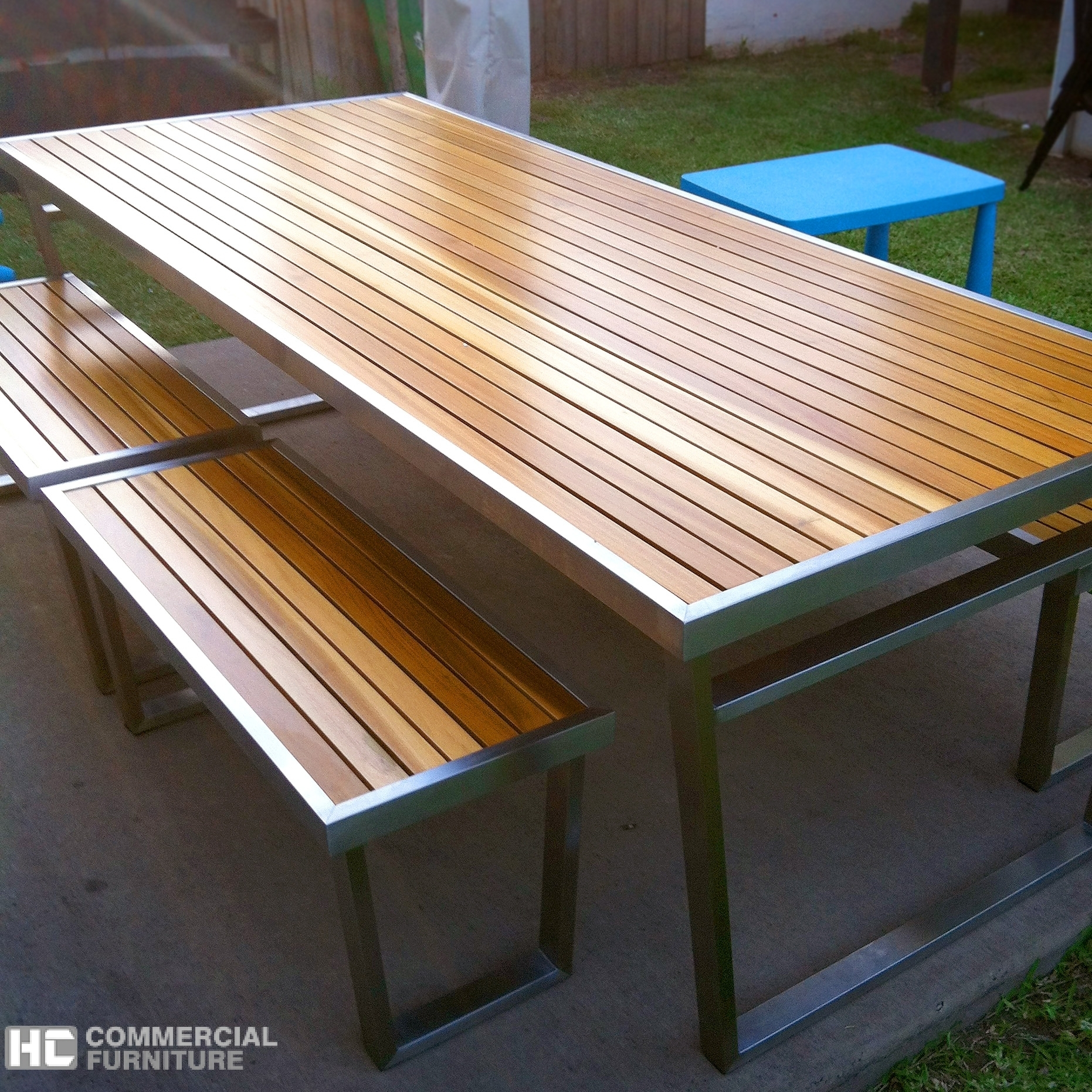 Image of: Teakwood Stainless Steel Table Set Hccf Commercial Furniture Throughout Outdoor Stainless Steel Furniture Great Outdoor Stainless Steel Furniture