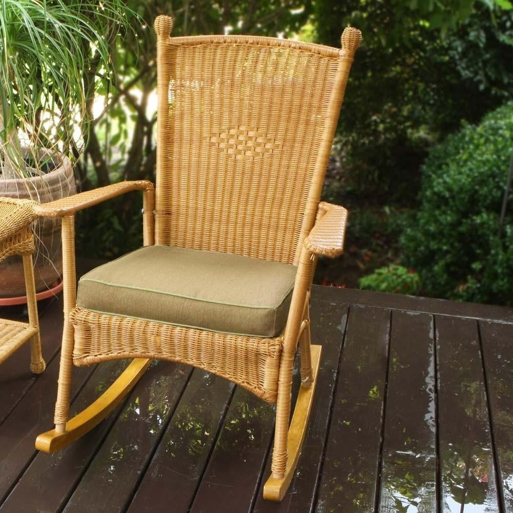 Image of: The Portside Classic All Weather Wicker Rocking Chair Set Inside Outdoor Rocking Chairs With Cushions Good Outdoor Rocking Chairs With Cushions
