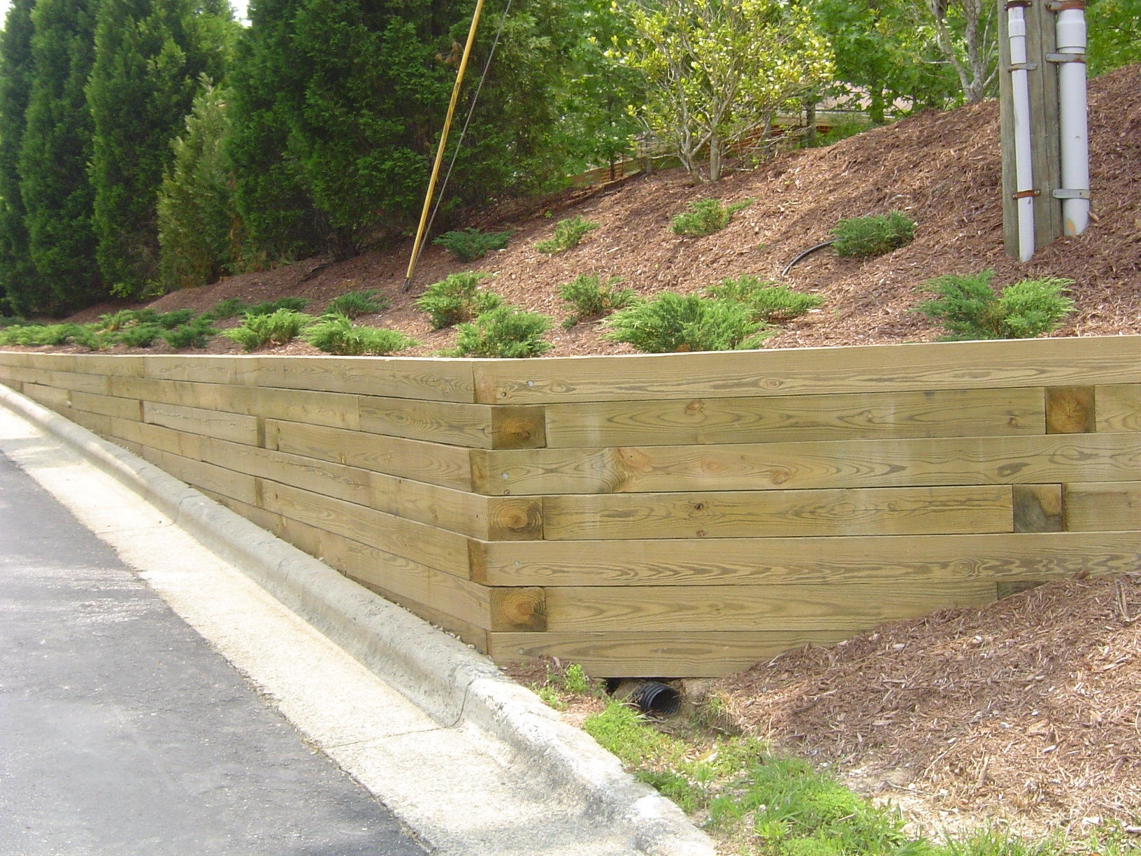 Image of: Timber Angle Retaining Wall Applications Of Retaining Wall For Landscaping Logs Landscaping Logs Beautiful In The Garden