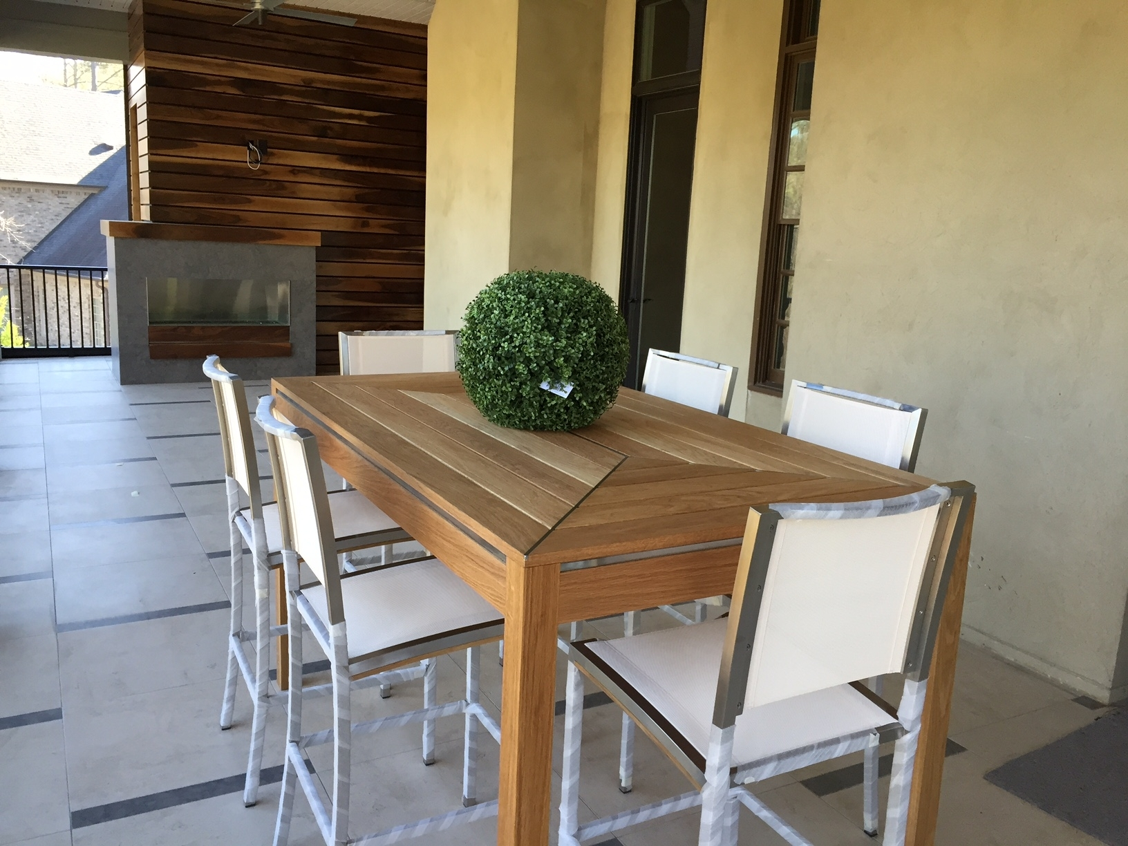 Image of: White Oak Outdoor Table With Stainless Steel Inlay Two Chair With Regard To White Oak Outdoor Furniture Good Protector For White Oak Outdoor Furniture