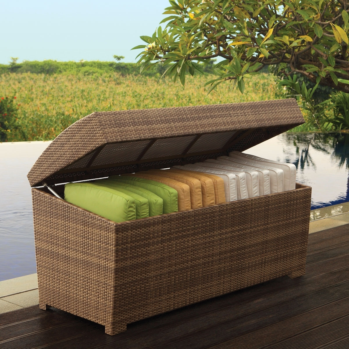 Image of: Wicker Cushions Box Palms Collection Thos Baker Within Cushion Boxes Outdoor Furniture How To Buy Cushion Boxes Outdoor Furniture