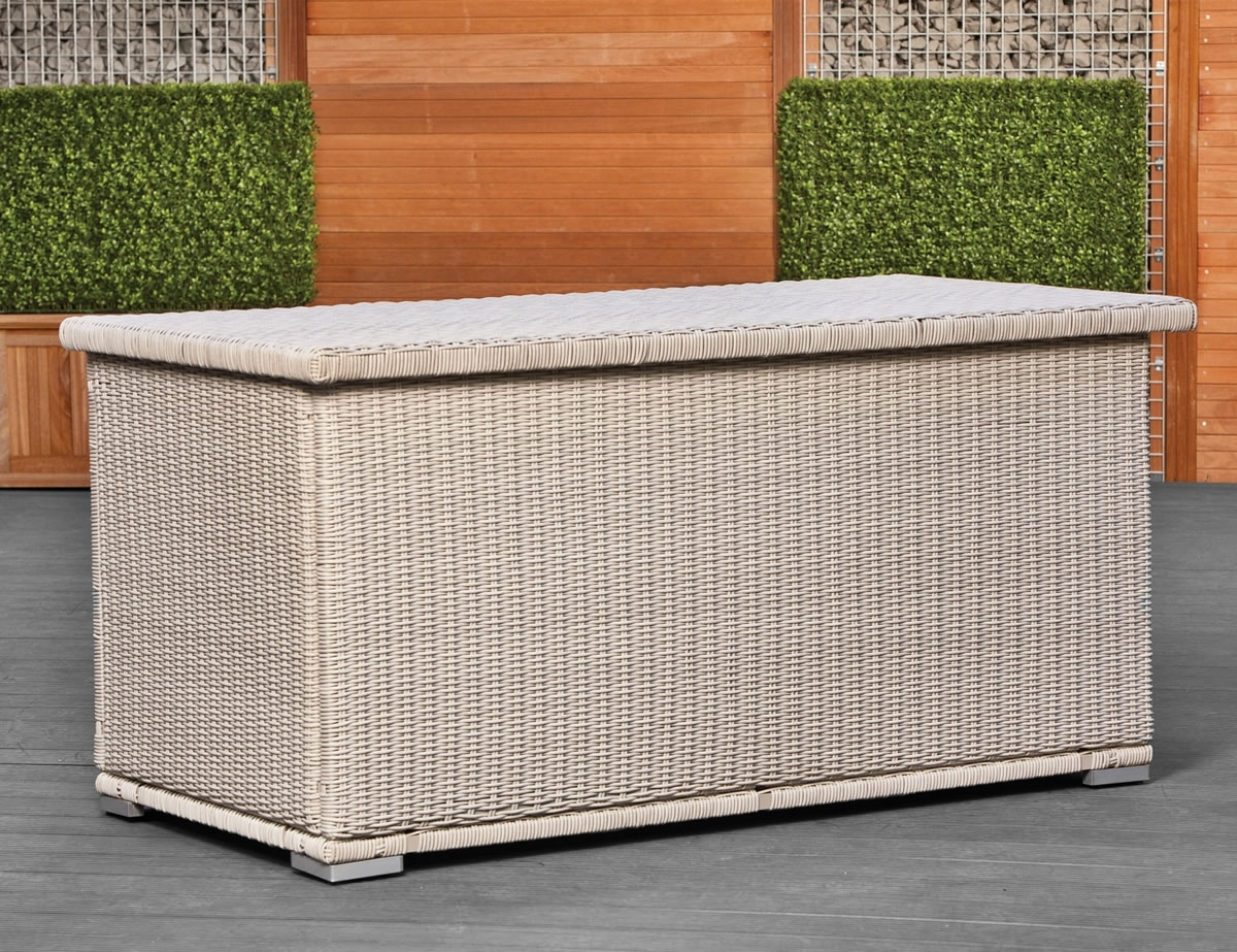 Image of: Wicker Garden Cushion Box Round Weave Pertaining To Cushion Boxes Outdoor Furniture How To Buy Cushion Boxes Outdoor Furniture