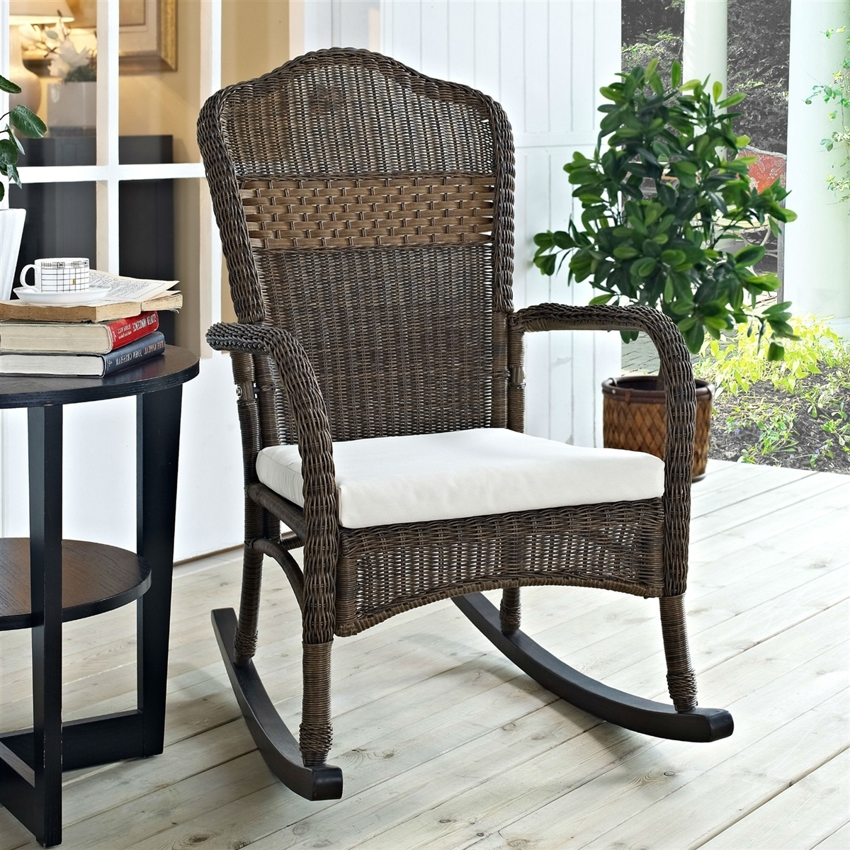 Image of: Wicker Patio Rocking Chair Mocha Indooroutdoor With Beige Cushion With Regard To Outdoor Rocking Chairs With Cushions Good Outdoor Rocking Chairs With Cushions