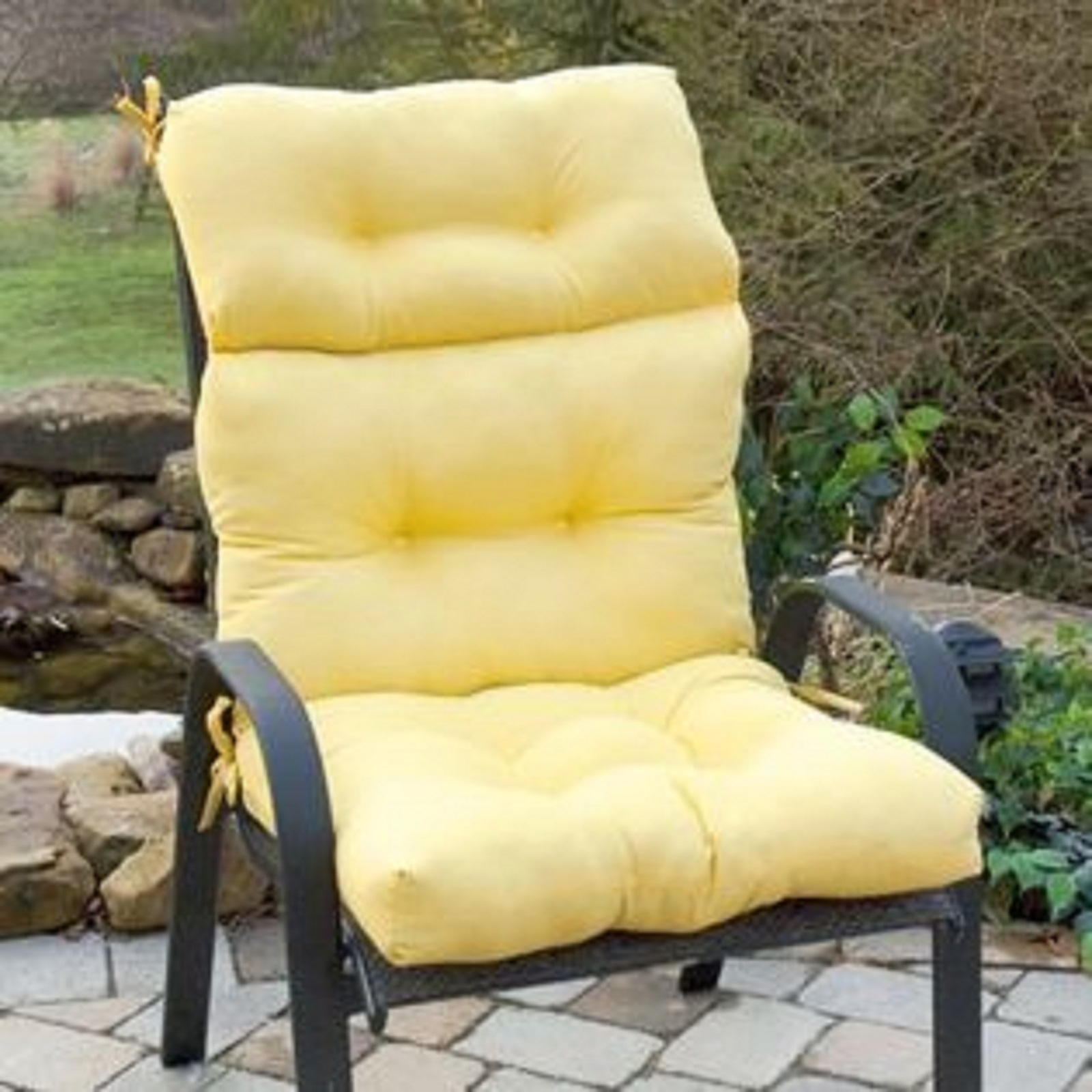 Image of: Yellow Patio Cushions Cushions Decoration With High Back Chair Cushions Outdoor Furniture How To Clean High Back Chair Cushions Outdoor Furniture