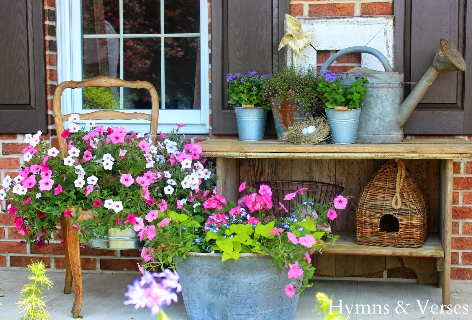 Image of: French Country Front Porch Hymns With Nice Front Porch Flowers